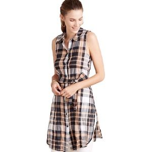 Anthropologie Holding Horses Plaid Tunic Tie Top